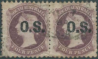 SOUTH AUSTRALIA 1874-76 Q. Vic 4d Mauve Opted O S in PAIR ACSC15 fine used