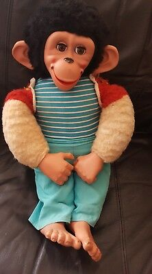 """Jacko a very old fragile monkey needs some tlc soft toy chad valley? 21"""" approx"""