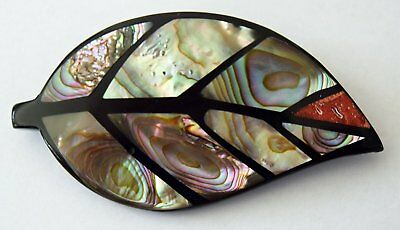 Abalone Multi Shell Leaf Brooch - Handcrafted
