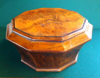 """""""NEEDLEWORK BOX"""" Octagonal with Statement Lining, Highly Figuered Walnut. c1910"""