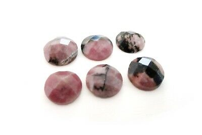 1x Natural Semiprecious Gemstone Rhodonite Faceted Round Cabochon 8mm Wholesale