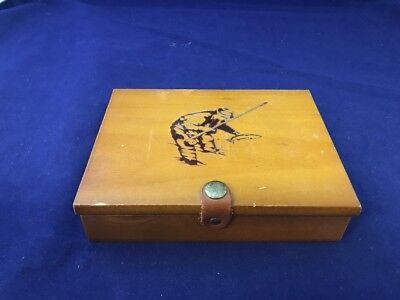 Two Decks Fly Fisherman Vintage Playing Cards Wooden Box Double Deck Y2