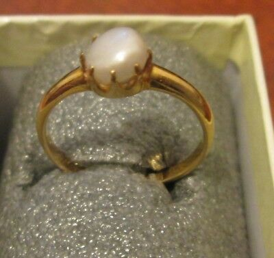 Antique 1910 Edwardian 18 Carat Gold & Real Pearl Ring Size UK P/Q US 7.5