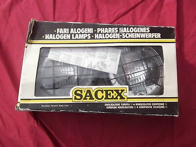 VINTAGE 1980s SACEX RALLY CAR SPOT LIGHTS.  MINT UNUSED IN BOX WITH INSTRUCTIONS