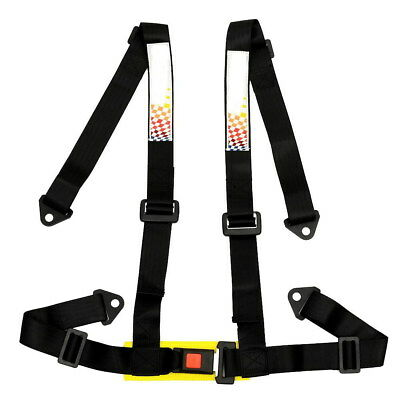 Universal 4 Point Racing Sport Safety Harness Seat Belt Bolt In Black