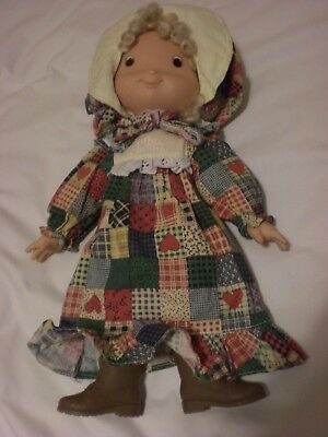 """HOLLY HOBBY VINTAGE DOLL knickerboker toys PLASTIC FACE, HANDS & BOOTS 14"""" tall"""