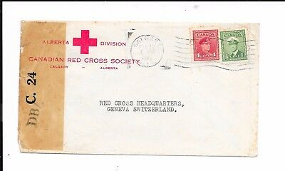 CANADA 1945 RED CROSS CENSORED COVER TO SWITZERLAND 5c RATE