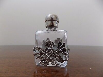 Vintage Glass Square PERFUME BOTTLE– Silver plated top,FLORAL FILIGREE overlay.