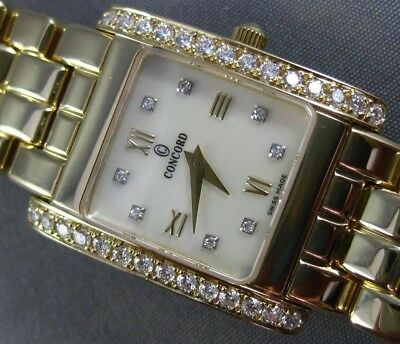 Estate Concord 14Kt Yellow Gold Mother Of Pearl Square Classic Watch #25590