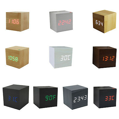 Wood Cube LED Alarm Desk Clock Room Temperature wood TG