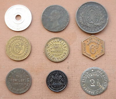 Collection Of 9 Assorted Trade Tokens