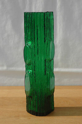 Vintage Meadow Green Textured Bark 'My Lady' Japan Glass Vase