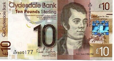 Clydesdale £10 25/01/13 Very Low Number Of First Prefix  W/kp 000177 Unc