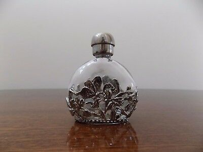 Vintage Glass Curved PERFUME BOTTLE– Silver plated top,FLORAL FILIGREE overlay.