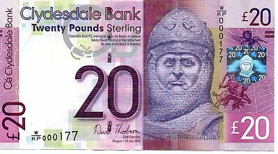 Clydesdale £20 11/07/13 Very Low Number Of First Prefix  W/kp 000177 Unc