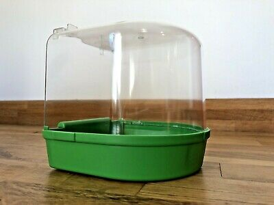 Bird Bath for Canary Budgie Bird Cage Green Base with Transparent Top