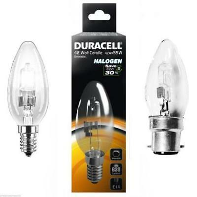 10 X Duracell Candle Eco Halogen Energy Saving Dimmable Light Bulbs 42W/60W