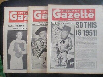 1951 Collection (3) Of 3  Of The  Speedway Gazette And Echo  Magazine