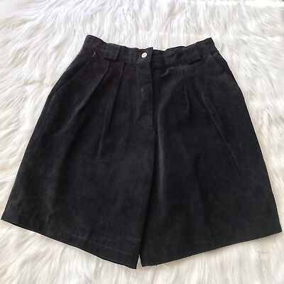 Vintage Suede High Waist Shorts Black Size12 Lined Global Identity G-III Leather