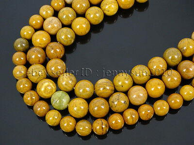 Natural Yellow Petrified Wood Jasper Gemstone Round Beads 15.5'' 6mm 8mm 10mm
