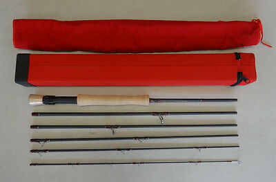 "Travel Fly Rod 9' 6"" #7 6 Sections High Carbon  Hard Case Ex Display Mint"