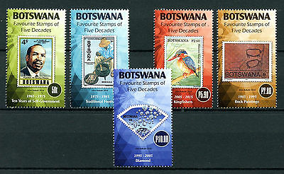 Botswana 2016 MNH Favourite Stamps on Stamps Kingfishers Birds Diamonds 5v Set