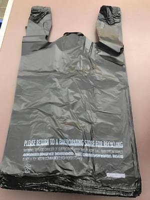 T-Shirt Black Plastic Grocery Store Shopping Carry Out Bag 50ct Recyclable