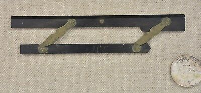 Antique Ebony And Brass Parallel Rule Very Cool Tiny Size Unusual Knotch Out