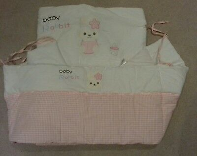 Pretty pink and white Cot Bumper and Quilt Set
