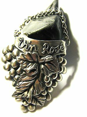 """Collectibles  """"vin Rose """" Decanter Tag With Chain - Manufactured Of France"""