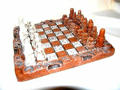 Antique Chess Hand Carved Warrior  Stone Set With Ornate Board And Box