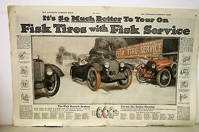 1917 Fisk Tires 2-page Ad from Saturday Evening Post Magazine