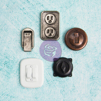 Prima Marketing Junkyard Findings Metal Trinkets Switches & Outlets 5/Pkg JYF8-9