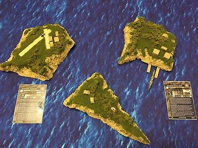 Axis and Allies War at Sea 3D Pacific Islands Set Of 3 Lot Naval Base Airfield