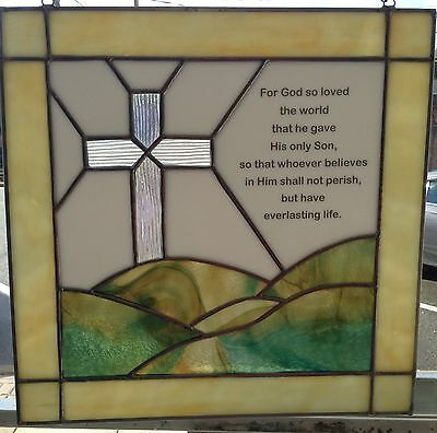 Stained Glass Chrisitan Bible Verse John:316 BEAUTIFUL Hand Made