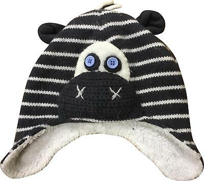 PRE-OWNED Boys John Lewis Navy Mix Detailed Winter Hat Size 12-24 Months JL298