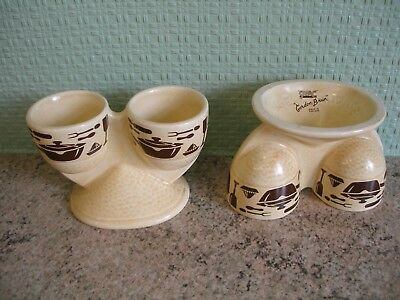 Rare SylvaC Pottery Retro 70's Kitch Pattern Gordon Brun Double Egg Cups X 2