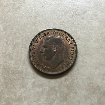 Bronze Penny 1950 Coin King George Vi Extremely Fine Grade With Lustre