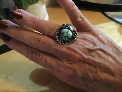 Native American Sterling Ring, Green Stone, Size 6