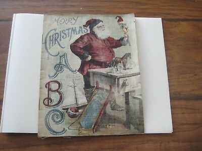 1890s Linen A B C  Christmas Book with Santa On Front (Great Graphics- Alphabet)