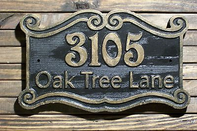 Address Sign Antique Brass Finished Double Scroll Wood Custom Carved Plaque