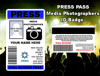 Press Pass ID Badge / Card - *Custom Printed w Your Photo & Info* - Photographer