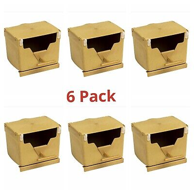 6 x PLASTIC FINCH NEST BOX WITH HOOKS Front & Back Exotic Finches Wide Openings