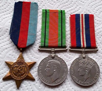 Genuine Group of 3 British WW2 Medals - The 1939-1945 Star, Defence & War Medals