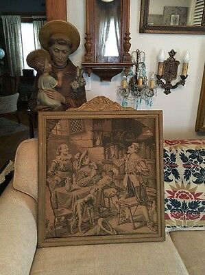 Vintage FRAMED TAPESTRY ITALIAN RENAISSANCE THEME WITH DOG STUNNING