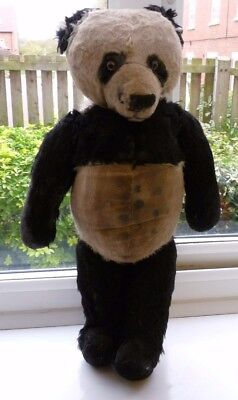 Large Vintage Teddy Bear Panda Fully Jointed Well Loved