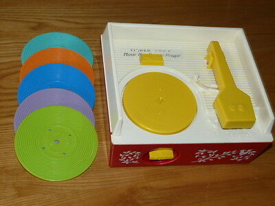 Vintage 1971 Fisher Price Music Box Record Player # 995 with 5 Records