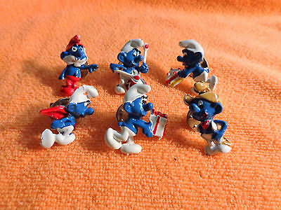 Set of 6 Different VINTAGE Blue Enamel SMURF BROOCH Pins (1950 -1960)