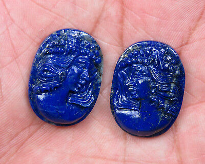 48.7 Cts Natural Lapis Lazuli Carved Lady Face Carving Oval Pair Loose Gemstones