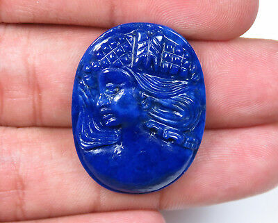 27.8 Cts Natural Lapis Lazuli Carved Queen Face Hand Crafted Carving Gemstones